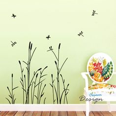 Reed Flower Dragonfly----Removable Graphic Art wall decals stickers home decor. $24.95, via Etsy.