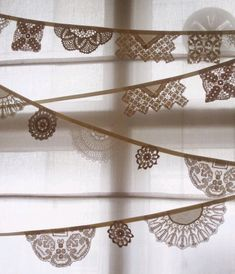 Vintage Doily Bunting, Banner, Garlands - Crochet doilies in off white its long from Bunting Boutique. via Etsy. Doily Garland, Doily Bunting, Bunting Banner, Buntings, Banners, Garlands, Bunting Ideas, Crochet Bunting, Party Bunting