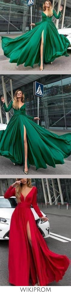 Flowy Long Sleeve V Neck Chiffon Long Formal Dresses with High Slit Backless Prom Dress P1101, This dress could be custom made, there are no extra cost to do custom size and color Split Prom Dresses, Backless Prom Dresses, Formal Dresses, Ombre Color, Custom Made, Chiffon, V Neck, Long Sleeve, Fashion