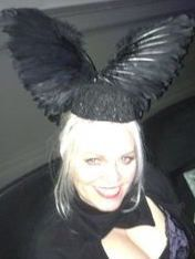 "Uriél Dana in ""Crow Feather Hat"" in honor of Edward Gorey at Edwardian Ball, San Francisco."