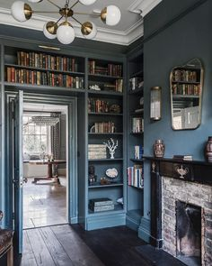Farrow Ball, Matilda, Library Study Room, Library Wall, Inchyra Blue, Family Room, Home And Family, Decoration, Home Projects