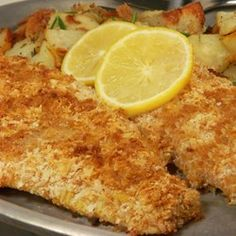 Crispy Baked Walleye - Allrecipes.com dip in egg/water then mixture of bread crumbs, instant mashed potatoes, parmesan cheese & season salt. Bake at 450 - 15-20 minutes.