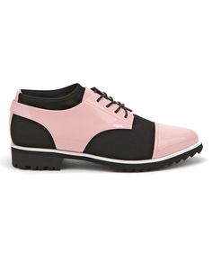 Take a look at this Jady Rose Pink & Black Lace-Up Leather Saddle Shoe today!
