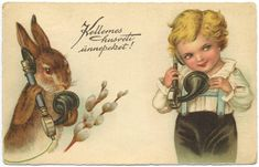 Vintage Easter, Vintage Images, Bunny, Teddy Bear, Fantasy, Fictional Characters, Animals, Postcards, Illustrations
