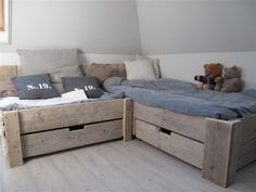 nl - lovely muted colour scheme for kids bedroom, change blue for a different look, coral maybe?