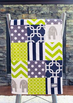 Patchwork Baby Blanket Modern Baby Quilt Lime by GiggleSixBaby