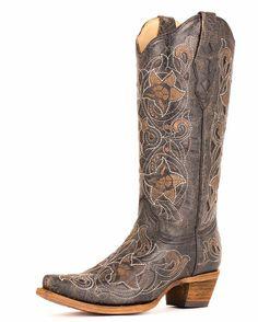 Women's Floral Black/White Stitch Boot - A1950