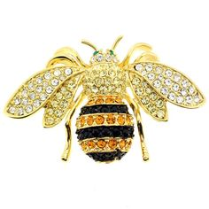 A bumblebee design adorned with round crystals in shades of black, orange and clear defines this stunning brooch. Crafted of goldtone base metal, this pin comes complete with an antiqued finish.
