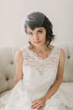 """Tulle Birdcage Veil with Bow #716V 