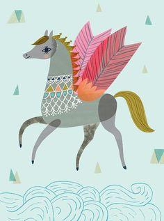 Pegasus, Horse Illustration, Kobold, Unicorn Horse, Unicorns, Horse Art, Painting Inspiration, Gouache, Folk Art