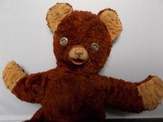 Vintage Teddy Bear DISTRESSED Brown Plush with Rubber Nose, Button Eyes