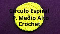 Círculo Espiral con Punto Medio Alto en tejido crochet tutorial paso a p...