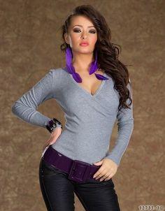 Neu Sexy Damen Pullover, Shirt,Pulli, Sweat Feinstrick Langarm Wickeloptik 36/38