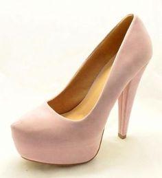 Ladies Plain Black Suedette platform high heel shoes with double ...