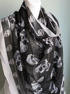 Schwarz weiß Skull Print Luxus Frau Schal Zubehör Phantasie Schal leichte Schal