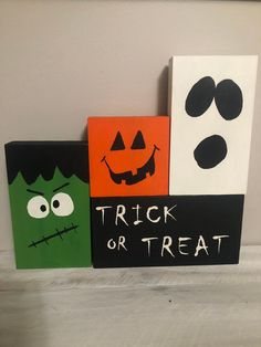Items similar to Trick or Treat block set/ Halloween decor/Pumpkin/Ghost/Frankenstein on Etsy Halloween Crafts To Sell, Halloween Blocks, Homemade Halloween, Halloween Signs, Diy Halloween Decorations, Halloween Cards, Holidays Halloween, Fall Wood Crafts, Fall Arts And Crafts