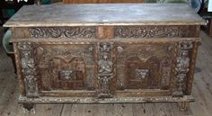 High quality carved and inlaid chest, found in old condition in Exeter, Marhamchurch antiques