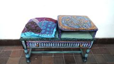 $269.00 Hand-Painted Seat & Telephone table - Patchwork cushion 20% further reduction