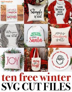 10 Free SVG Files for Winter: Perfect for Gifts, Decor, Clothing, and more! Commercial licensing is available, if needed. Source by winter Cricut Christmas Ideas, Christmas Vinyl, Dollar Store Christmas, Christmas Projects, Holiday Crafts, Xmas, Handmade Christmas, Christmas Printables, Holiday Decorations