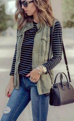 Cute Fall Outfit Idea Vest Plus Stripped Top Plus Bag Plus Rips