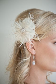 Ivory and Gold Floral Feather Hair Clip
