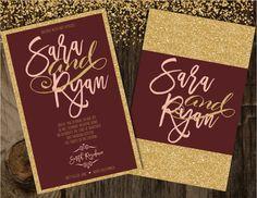 Blush and Burgundy Wedding Invitation Blush and by Joyinvitations