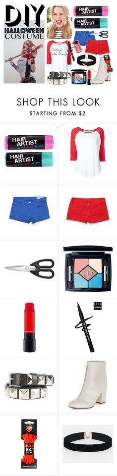 """DIY Harley Quinn"" by phoenixgray ❤ liked on Polyvore featuring Frame Denim, rag & bone/JEAN, J Brand, KitchenAid, Christian Dior, MAC Cosmetics, New Look, Sof Sole, ASOS and Too Faced Cosmetics"