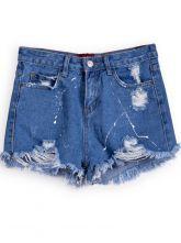 Navy+Pockets+Ripped+Denim+Shorts+US$21.64