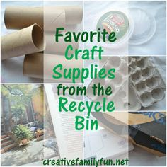 You don't have to spend a lot of money on craft supplies. Here are our favorite draft supplies from the recycle bin. ~ Creative Family Fun