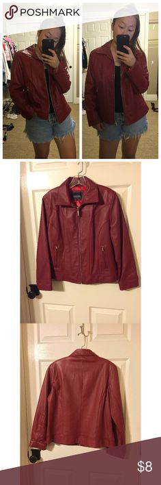 "Red Leather Jacket Company: ALDER Size: LARGE MADE IN CHINA Fabric: 100% GENUINE LEATHER, 100% POLYESTER -- Front Length: "" Chest: "" Waist: "" --  -- #redleather #genuineleather #leatherjackets #redleatherjackets #fashion #winter #fall #red #vintage Jackets & Coats"