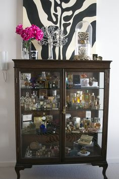 1930's Oak vitrine with vintage Perfume Bottles
