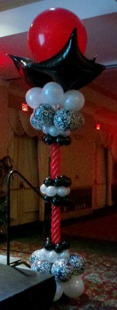 Elegant balloon column. Black, red and white Balloon column.  #balloon-column #balloon-decor