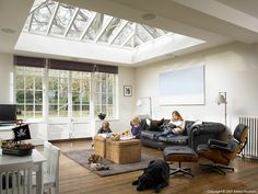 The kitchen conservatory area of Coral & Rob Garlick's Edwardian mansion located near Godalming in Surrey by Ashley Morrison. Edwardian House, Georgian House, Conservatory Decor, Extension Ideas, Garage Extension, Glass Extension, Window Styles, House Extensions, Other Rooms
