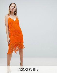 0769222f2c2 DESIGN Petite fringe   lace plunge bodycon midi dress