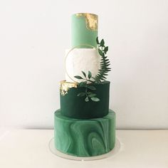 """""""Gilded Greenery"""" Botanical inspired green marble wedding cake with edible rose gold leaf and foliage wreath by Blossom & Crumb"""