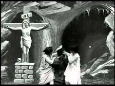 The Temptation of St. Anthony (1898) - Georges Melies | The oldest movie with a religious narrative. In front of an effigy of the crucified Christ, St. Anthony (Méliès) is tempted by beautiful women.