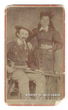 """CDV of Charlie Bowdre and Wife. 3 x 2 mounted to 4 x 2 Furlong, Las Vegas. photographer's imprint on verso. Written in pencil on verso: """"Charlie Bowdre"""". Written in ink on verso: """"Picture to Mrs. Includes signed letter from former"""