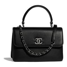 c1fea0c5bee0 Calfskin & Ruthenium-Finish Metal Black Small Flap Bag with Top Handle
