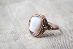 Wire wrapped ring  simple beige ring  copper jewelry by JD4dreamer, $18.00