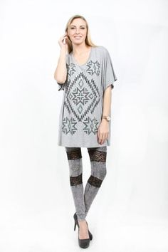 Vocal Inc.> T-Shirts> 12610SX-Gray Plus Size Short Sleeve Top W.Stone and Print Detail/Color: Jade, Coral, Black, Gray usfashionstreet.com