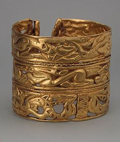 The State Hermitage Museum: Bracelet Gold; cast and chased. 8.4x7 cm Sakae Culture. 4th century BC Siberian collection of Peter I, Russia, Siberia