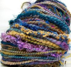 HandSpun Art Yarn Merino Wool Compendium Custom Spin by kittygrrlz, $47.00