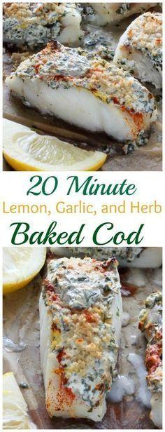 20 Minute Lemon Garlic and Herb Baked Cod - easy healthy and so delicious! 20 Minute Lemon Garlic and Herb Baked Cod - easy healthy and so delicious! Fish Dinner, Seafood Dinner, Seafood Bake, Think Food, Love Food, Halibut, Food And Drink, Healthy Eating, Dinner Healthy