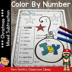 Five Color By Numbers Christmas Math Mixed Subtraction Facts and Answer Keys. Perfect for the busy time of year for kindergarten, first grade and second grade classes. Teacher Page, 2nd Grade Teacher, Christmas Color By Number, Christmas Colors, Christmas Math, Christmas Ideas, Merry Christmas, Student Jokes, Subtraction Activities