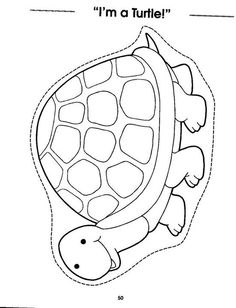 Color and cut on dotted line Colouring Pages, Coloring Sheets, Reptiles Preschool, Turtle Crafts, T Craft, Paper Puppets, Origami Paper Art, Alphabet For Kids, Class Decoration