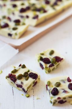 White Christmas candy with cranberry and pistachios...beautiful.