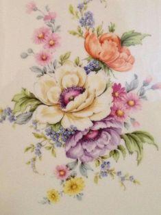 Vintage Flower Tattoo, Vintage Flowers, Watercolor Flowers, Watercolor Art, Painting Flowers, Fabric Painting, Painting & Drawing, Dresden, China Painting