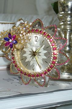 A Vintage Whimsical Phinney Walker Pink Jeweled Clock By Debbie-Baby!!!