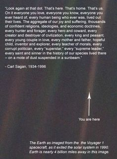 """That's us...on a mote of dust suspended on a sunbeam""   I love Carl Sagan."