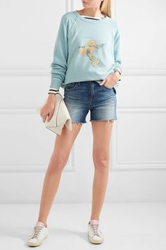The Great - The College Printed Cotton-terry Sweatshirt - Blue - 3